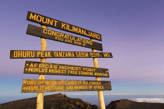 51358018 - uhuru peak highest summit on mount kilimanjaro in tanzania, africa.